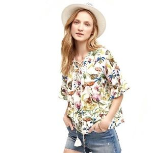 NWT TRYB Anthropologie Flora & Fauna Bamboo Blouse